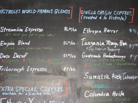 Exotic coffee blends offered at Victrola.