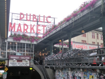 Famous 'Public Market Center' sign and clock.