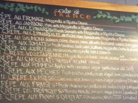 """If I hadn't packed a sandwich, I would've loved to eat at Crepe de France. """"Crepe Au Salmon"""" and """"Crepe Au Chocolat"""" looked especially enticing."""