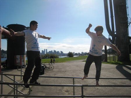 Tyson (right) was one of the Parkour leaders, and showed off the matching blue and white t-shirts promoting the event.