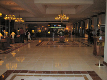 lavish hilton lobby and convenient restaurants bars